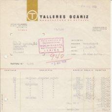 Facturas antiguas: FACTURA. TALLERES OCARIZ. MANUFACTURA DE METALES. VITORIA. 1960.. Lote 83717692