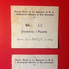 Facturas antiguas: 2 RECIBOS DONATIVO ANTIGUOS GRUPO TEATRAL - AÑO 1952. Lote 85039688