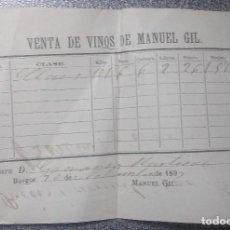 Facturas antiguas: FACTURA VENTA DE VINOS DE MANUEL GIL. BURGOS. 1897. -- IMPRESA Y MANUSCRITA.. Lote 85096112