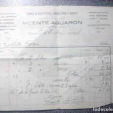 Facturas antiguas: FACTURA FÁBRICA DE AGUARDIENTES, LICORES FINOS Y JARABES -- VICENTE AGUARÓN -- BURGOS. 1920.- MANUSC. Lote 85096236
