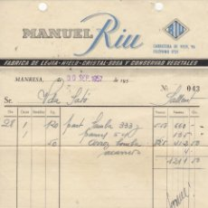 Facturas antiguas: ANTIGUA FACTURA MANUEL RIU MANRESA 1957 - FABRICA DE LEJIA - HIELO - CRISTAL SOSA Y CONSERVAS VEGETA. Lote 85166712