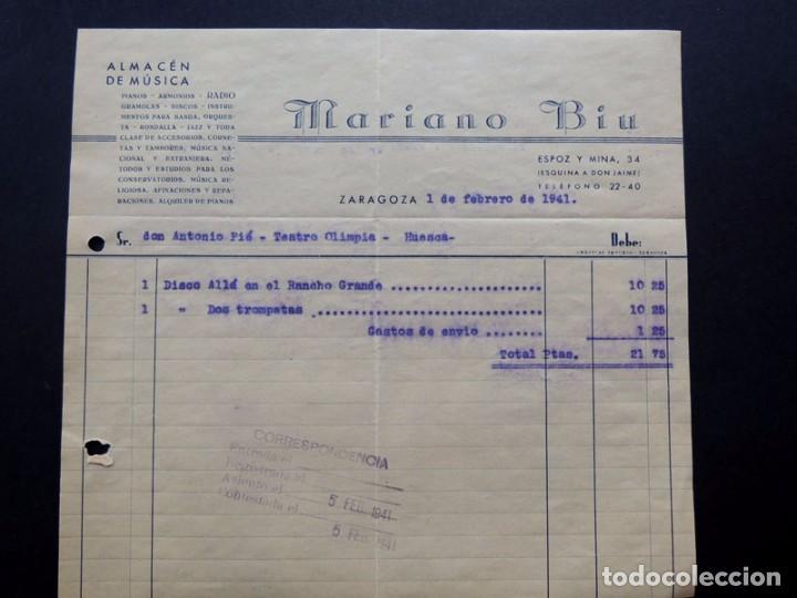 ALMACEN DE MUSICA - MARIANO BIU ( DISCO - ALLA EN EL RANCHO GRANDE ) ZARAGOZA 1941 (Coleccionismo - Documentos - Facturas Antiguas)