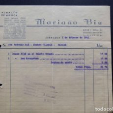 Facturas antiguas: ALMACEN DE MUSICA - MARIANO BIU ( DISCO - ALLA EN EL RANCHO GRANDE ) ZARAGOZA 1941. Lote 218454532