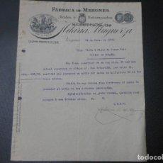 Factures anciennes: FACTURA DE VERGARA GUIPUZCOA FABRICA DE MAHONES SOBRINOS DE HILARIA MUGUERZA 1913. Lote 85601756