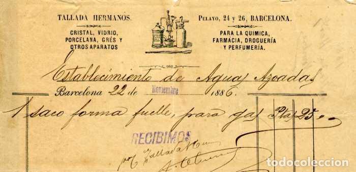 FACTURA LITOGRAFIA TALLADA HERMANOS CALLE PELAYO BARCELONA AÑO 1886 (Coleccionismo - Documentos - Facturas Antiguas)