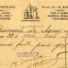 Facturas antiguas: FACTURA LITOGRAFIA TALLADA HERMANOS CALLE PELAYO BARCELONA AÑO 1886. Lote 85634976