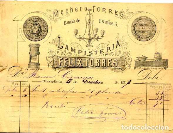FACTURA LITOGRAFIA LAMPISTERIA DE FELIX TORRES CALLE RAMBLA DE ESTUDIOS Nº 3 BARCELONA AÑO 1886 (Coleccionismo - Documentos - Facturas Antiguas)