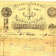 Facturas antiguas: FACTURA LITOGRAFIA LAMPISTERIA DE FELIX TORRES CALLE RAMBLA DE ESTUDIOS Nº 3 BARCELONA AÑO 1886. Lote 85651952