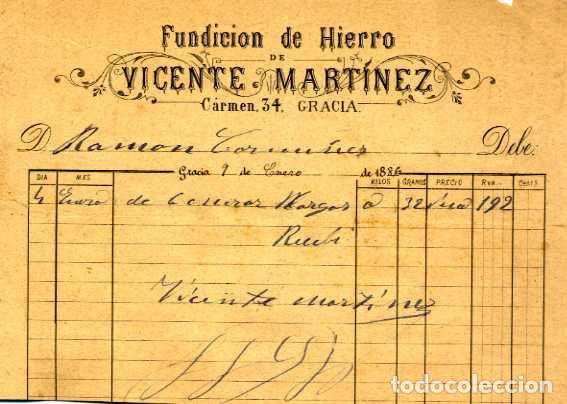 FACTURA LITOGRAFIA FUNDICION DE HIERRO VICENTE MARTINEZ CALLE CARMEN Nº 34 GRACIA BARCELONA AÑO 1886 (Coleccionismo - Documentos - Facturas Antiguas)