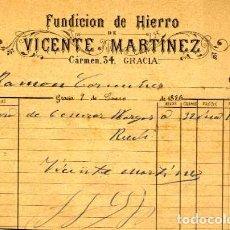 Facturas antiguas: FACTURA LITOGRAFIA FUNDICION DE HIERRO VICENTE MARTINEZ CALLE CARMEN Nº 34 GRACIA BARCELONA AÑO 1886. Lote 85655116