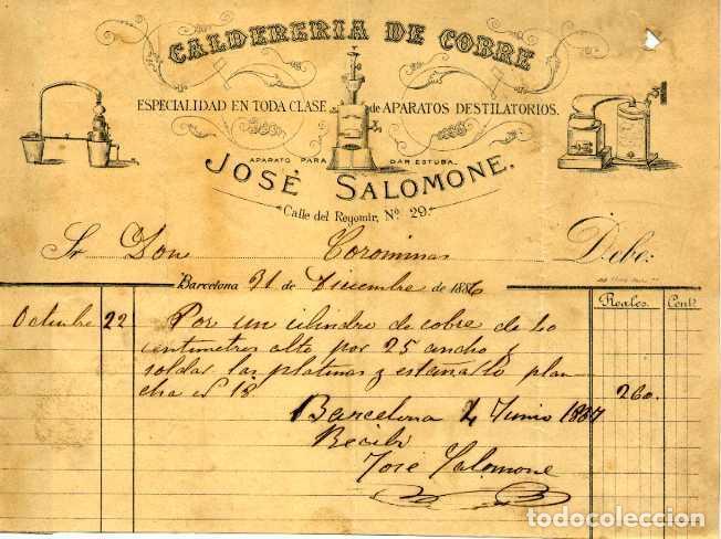 LITOGRAFIA FACTURA CALDERERIA DE COBRE JOSE SALOMONE CALLE REGOMIR Nº 29 BARCELONA. AÑO 1886 (Coleccionismo - Documentos - Facturas Antiguas)