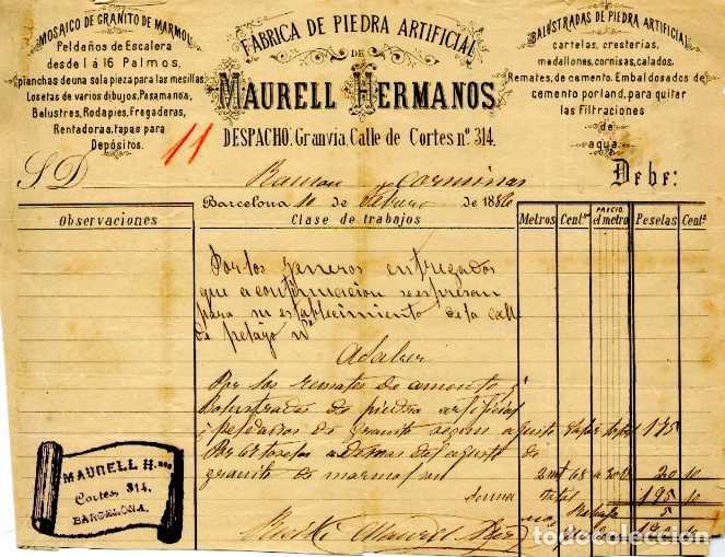 LITOGRAFIA FACTURA FABRICA DE PIEDRA ARTIFICIAL MAURELL HERMANOS. BARCELONA. AÑO 1886 (Coleccionismo - Documentos - Facturas Antiguas)