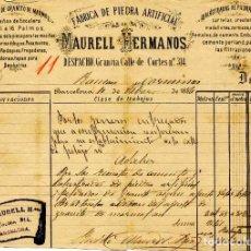 Facturas antiguas: LITOGRAFIA FACTURA FABRICA DE PIEDRA ARTIFICIAL MAURELL HERMANOS. BARCELONA. AÑO 1886. Lote 85770900