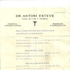 Facturas antiguas: 1912.- MANRESA-FARMACIA DR ANTONI ESTEVE MANRESA 1934. Lote 86038056