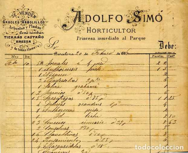 FACTURA LITOGRAFIA ADOLFO SIMO HORTICULTOR CALLE PRINCESA. BARCELONA AÑO 1886 (Coleccionismo - Documentos - Facturas Antiguas)