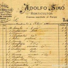 Facturas antiguas: FACTURA LITOGRAFIA ADOLFO SIMO HORTICULTOR CALLE PRINCESA. BARCELONA AÑO 1886. Lote 86039804
