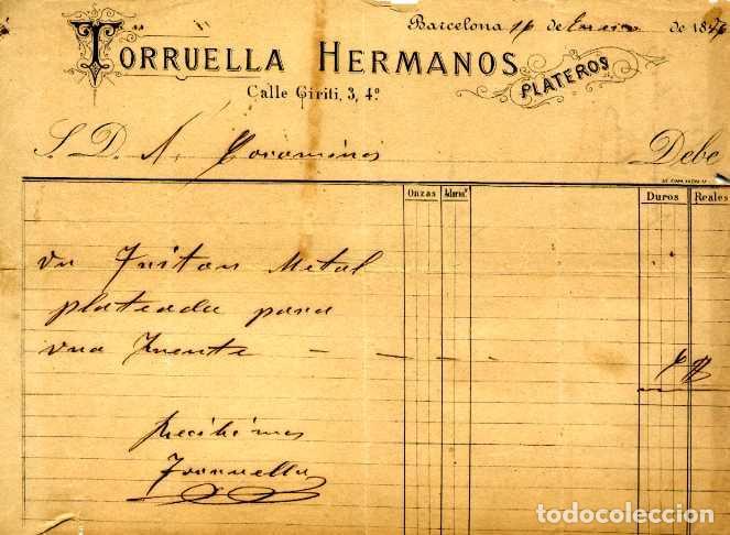 FACTURA LITOGRAFIA TORRUELLA HERMANOS. PLATEROS. CALLE GIRITI Nº 3. BARCELONA AÑO 1886 (Coleccionismo - Documentos - Facturas Antiguas)