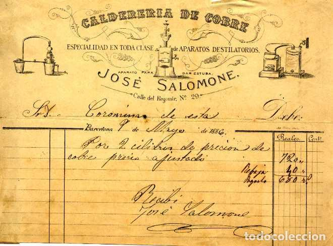 FACTURA LITOGRAFIA CALDEDERIA DE COBRE JOSE SALOMONE CALLE REGOMIR BARCELONA AÑO 1886 (Coleccionismo - Documentos - Facturas Antiguas)