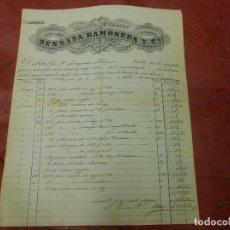 Facturas antiguas: FACTURA DE TARRASA BARCELONA FABRICA DE CARDAS LANA ESTAMBRE DE SENSADA RAMONEDA 1884. Lote 162300389