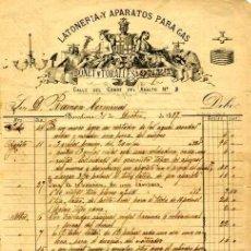 Facturas antiguas: FACTURA LITOGRAFIA LOTONERIA Y APARATOS PARA GAS BONET TONALLES BARCELONA AÑO 1886. Lote 86141816