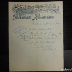Facturas antiguas: FACTURA CARTA DE CALELLA BARCELONA FABRICA GENEROS DE PUNTO A VAPOR MEDIAS PEDEMONTE HERMANOS 1902. Lote 86863648