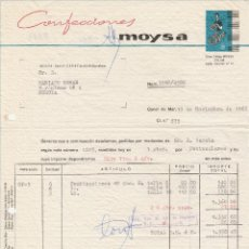 Facturas antiguas: FACTURA. CONFECCIONES MOYSA. CANET DE MAR-BARCELONA. 1965.. Lote 86959292