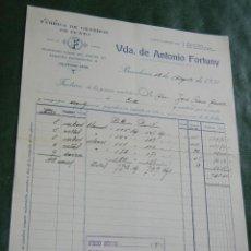 Facturas antiguas: FACTURA FABRICA GENEROS DE PUNTO VDA. ANTONIO FORTUNY, BARCELONA, 1931. Lote 87073264