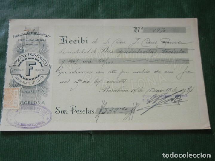 RECIBO FABRICA GENEROS DE PUNTO VDA. ANTONIO FORTUNY, BARCELONA, 1931 (Coleccionismo - Documentos - Facturas Antiguas)