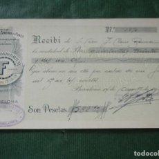 Facturas antiguas: RECIBO FABRICA GENEROS DE PUNTO VDA. ANTONIO FORTUNY, BARCELONA, 1931. Lote 87073364