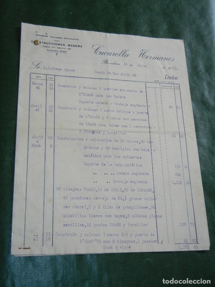FACTURA TALLERES MECANICOS CONSTRUCCIONES MADERA CUCURELLA HERMANOS, BARCELONA, 1931 - 3 HOJAS (Coleccionismo - Documentos - Facturas Antiguas)