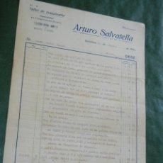 Facturas antiguas: FACTURA TALLER DE MAQUINARIA ARTURO SALVATELLA, BARCELONA - SANTS , 1931. Lote 87075208