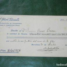 Facturas antiguas: RECIBO TALLER DE MAQUINARIA ARTURO SALVATELLA, BARCELONA - SANTS , 1931. Lote 87075252