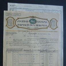 SOCIEDAD FARMACEUTICA ARAGONESA ( FARMACIA - AGUAS MINERALES ) ZARAGOZA 1923