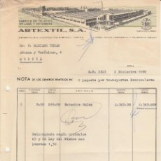 Facturas antiguas: FACTURA. ARTEXTIL, S.A. FABRICA DE TEJIDOS DE LANA Y ESTAMBRE. SABADELL. 1960.. Lote 87628900