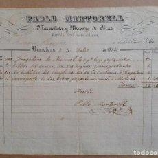 Facturas antiguas: BARCELONA 1853 * FACTURA MARMOLISTA * RAMBLA JUNTO A LICEO * TRANSPORTE A MATARO. Lote 87656904