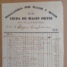 Facturas antiguas: MATARO 1853 * FACTURA HOJALATERIA * CALLES DEL PALAU Y DEL CARRERO. Lote 87657100