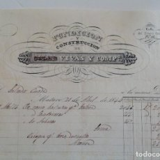 Facturas antiguas: MATARO 1853 * FACTURA FUNDICION Y CONSTRUCCION VIVAS Y COMP * IMPRESA EN LA DÉCADA DE 1840. Lote 87657732