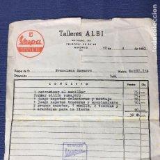 Facturas antiguas: FACTURA SERVICIO VESPA - TALLERES ALBI - MADRID - 1962. Lote 87704588