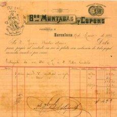 Facturas antiguas: FACTURA LITOGRAFIA MUNTADAS Y COPONS. BARCELONA CALLE PUERTAFERRISA Nº18. AÑO 1891. Lote 88323824