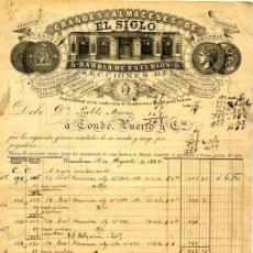 Facturas antiguas: FACTURA LITOGRAFIA GRANDES ALMACENES EL SIGLO CALLE RAMBLA ESTUDIOS Nº 5 BARCELONA AÑO 1884. Lote 88337440