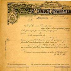 Facturas antiguas: FACTURA LITOGRAFIA FABRICA DE BUJIAS MELITON CASTELLAR CALLE AUSIAS MARCH Nº 7 BARCELONA AÑO 1890. Lote 88985636