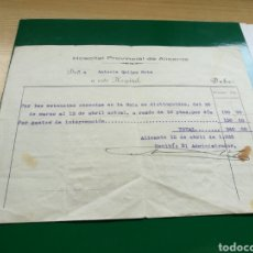 Facturas antiguas: RARA FACTURA DEL HOSPITAL DE ALICANTE.12DE ABRIL DE 1935 . Lote 89373903
