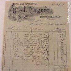 Facturas antiguas: FACTURA DE DROGUERÍA FARMACÉUTICA J. VILADOT. ESPECÍFICOS NACIONALES. BARCELONA. 1920. Lote 89711216