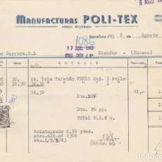 Alte Rechnungen - FACTURA. MANUFACTURAS POLI - TEX. BARCELONA. 1963. - 90219272