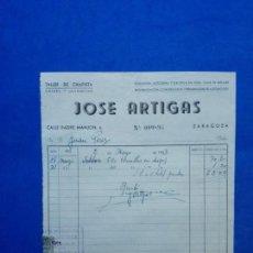 Facturas antiguas: ENVÍO GRATIS. JOSÉ ARTIGAS. TALLER DE CHAPISTA. PINTURA Y GUARNECIDO. ZARAGOZA, 1953. Lote 90354072