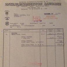 Facturas antiguas: FACTURA DE MANUEL ÁLVAREZ E HIJOS. ESTABLECIMIENTOS ÁLVAREZ. ZARAGOZA. 1964. Lote 90974205