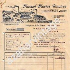 Facturas antiguas: VILLAFRANCA DE LOS BARROS, BADAJOZ,1953, FACTURA MANUEL MACIAS RAMIREZ, ACEITE Y JABONES. Lote 91491020