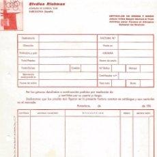 Facturas antiguas: FACTURA ALBARAN STUDIOS RICHMAN ARTICULOS DE BROMA Y MAGIA ILUSIONISMO BARCELONA AÑOS 60. Lote 91707615