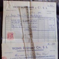 Facturas antiguas: FACTURA DE LA COMERCIAL E INDUSTRIAL CASTELLONENSE - AÑO 1960 -. Lote 91992055