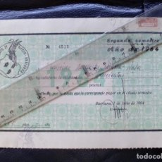 Facturas antiguas: RECIBO DE PAGO SEGUNDO SEMESTRE SINDICATO DE RIEGOS DE BURRIANA (CASTELLON) 1 - 7 - 1964. Lote 92098865